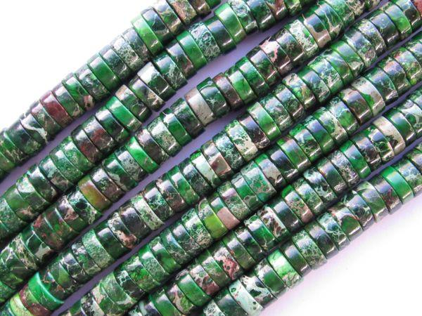 "Aqua Terra JASPER BEADS 8mm Heishe Dyed Green 8"" Strand 68 pc Quality Matrix"