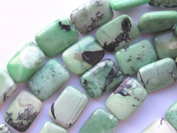 """Spring Green Turquoise BEADS 18x13mm Rectangle Chinese 15.5"""" Strand 22 pc Genuine Natural Gemstone"""