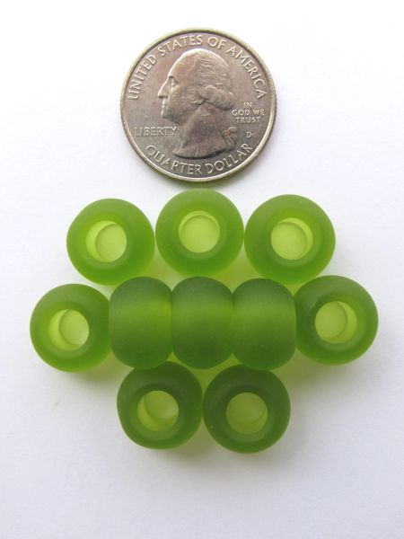 SEA GLASS Large Hole BEADS 14x10mm Olive Green 10 pc Recycled Quality