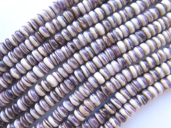 "Wampum BEADS Quahog Purple Shell USA 6mm Rondelles 16"" Strand Genuine Natural Mercendaria"