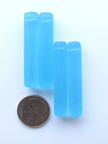 Sea Glass PENDANTS 38x8mm Column Cylinder Green Blue Pink Top Drilled making sea glass jewelry