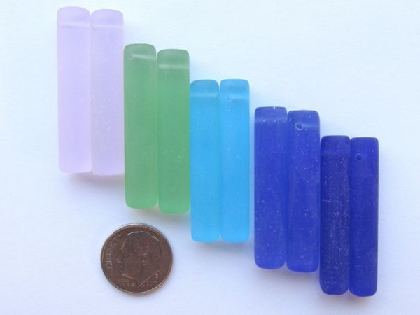 Sea Glass PENDANTS 38x8mm 5 Pair Assorted Blue Green Pink Elongated Column Cylinder Top Drilled making sea glass jewelry