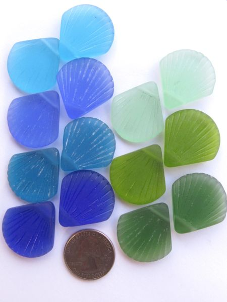 Bead Supplies Cultured Sea Glass PENDANTS 30x28mm Large Flat frosted Shell Assorted 7 Pair Blue Green Side Drilled lot