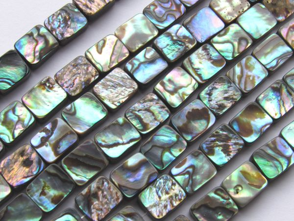 Abalone BEADS 10x8mm Rectangle 38 pc Natural Shell Strand 1mm hole Drilled Multicolor Iridescent Luster