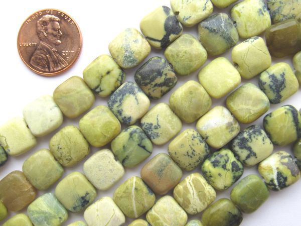 "Yellow TURQUOISE BEADS 10mm Square 15.5"" Strand 38 pc Quality Grade Gemstone"