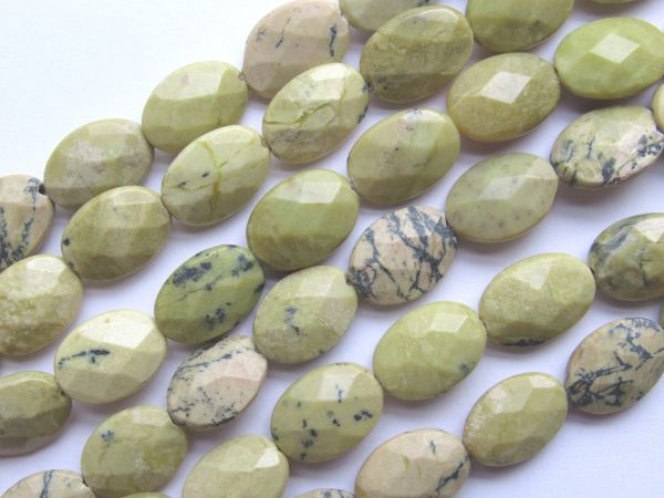 """Yellow Turquoise BEADS 14x10mm Faceted Oval Natural 14.5"""" Strand 28 pc Quality Genuine Gemstone"""