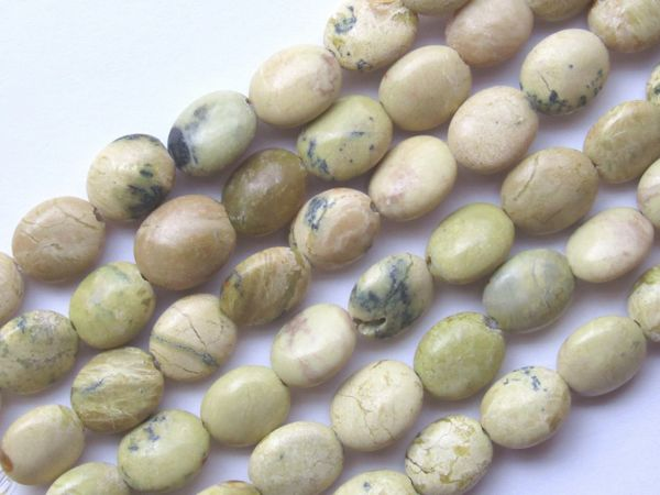 """Yellow Turquoise BEADS 10x8mm Oval Natural 15.5"""" Strand 40 pc Quality Genuine Gemstone"""