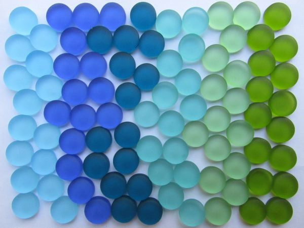 Sea Glass CABACHONS Undrilled 12mm Assorted Blue Green 30 60 90 pc Cabachon Flat Bottom Small NOT Drilled