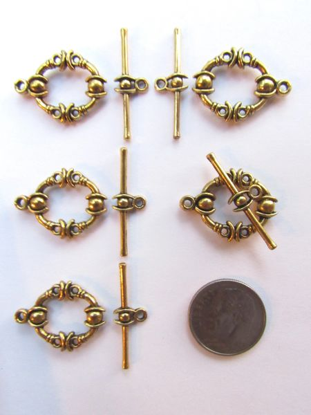 Toggle CLASPS 21x17mm Antique Gold Finding Supply Base Metal Intricate Design 5 sets bar and ring
