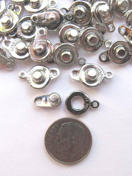 SNAP CLASPS Patented BRASS 16.5x9.5x5mm Platinum Color 10 sets ring and ball Plated Single Strand