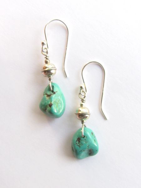 Turquoise EARRINGS Handmade Benchmade Sterling Silver Bead Charico Lake Dangle Drops Earwires