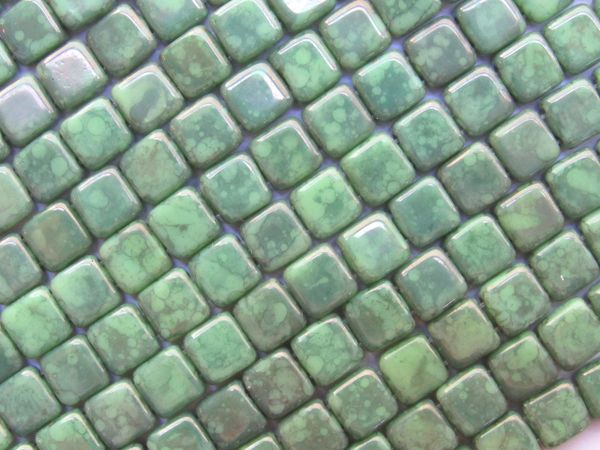 CzechMates 6mm Tile BEADS HONEYDEW Moon Dust 50 pc Square 2 Hole Green Czech Glass MD53200