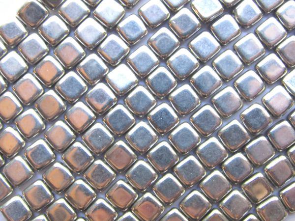 CzechMates Beads SILVER 6mm Tile Beads 50 pc Strand Spuare 2 Hole Pressed Glass Metallic