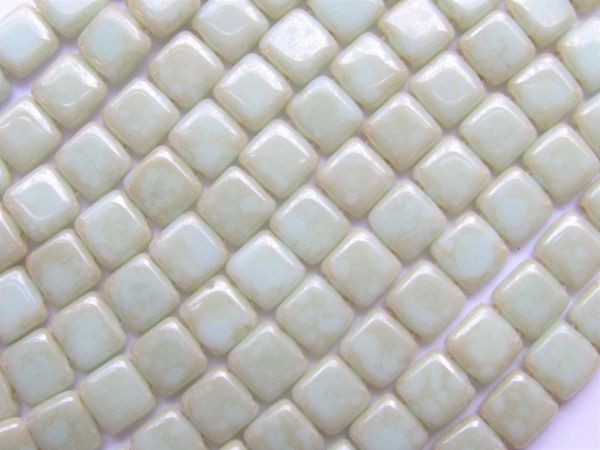 CzechMates Opaque Pale TURQUOISE Star Dust 6mm Tile Beads 50 pc Spuare 2 Hole Pressed Glass ST63100