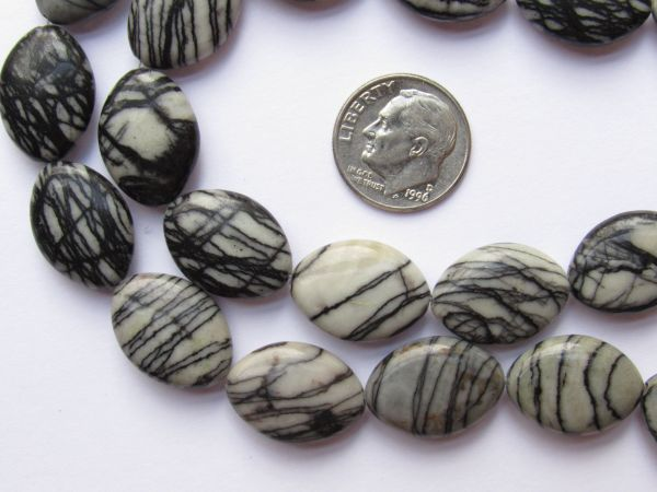 """Black Vein JASPER BEADS Oval 18x13mm Puffed Cushion 11 pc 8"""" strand black and white contrasting unique multicolor gemstone"""