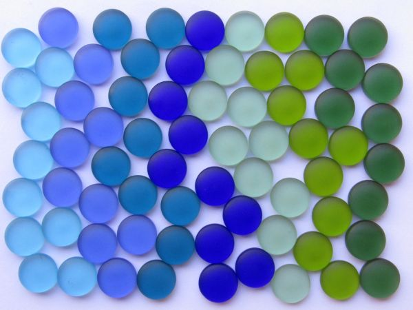 Cultured SEA GLASS Cabs 15mm frosted glass Cabachons Undrilled Variety Blues Greens making sea glass jewelry Not Drilled