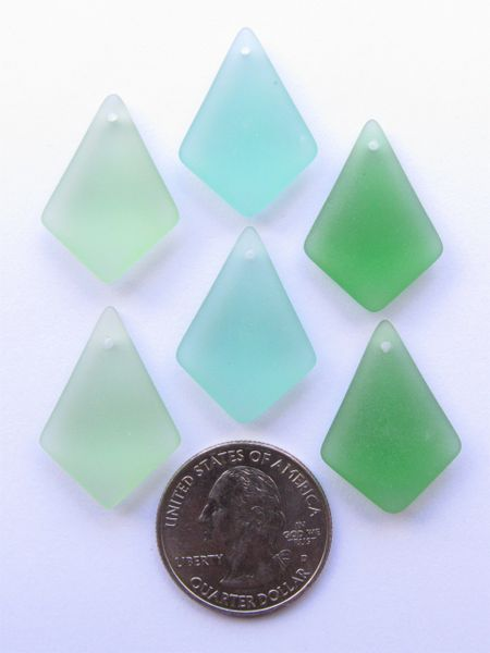Cultured SEA GLASS PENDANTS Diamond 28x20mm top drilled frosted glass pendant jewelry quality supply beach glass