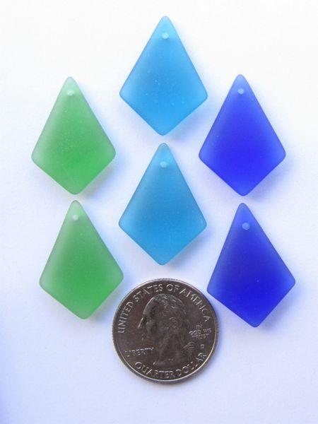 Diamond SEA GLASS PENDANTS blue green variety pairs 6 pc making beach glass jewelry supply frosted sea glass beads