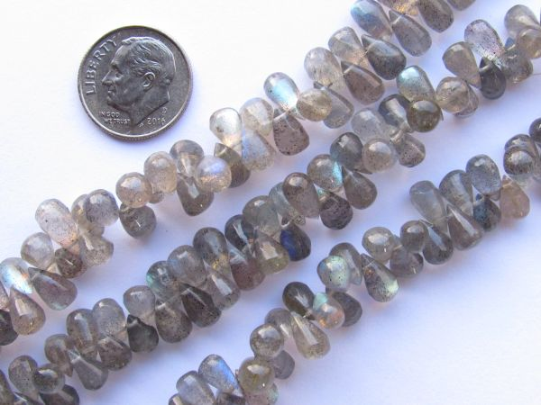 "LABRADORITE Pendants Teardrop 9mm Lots of Flash 8"" Strand Top Drilled Smooth 88 pc"