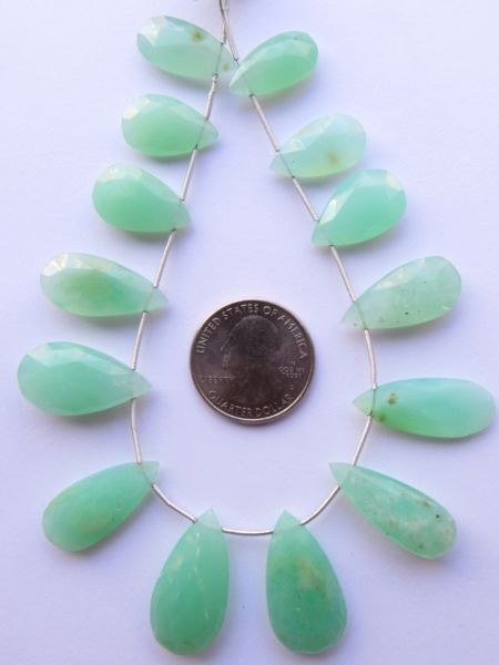 Green CHALCEDONY PENDANTS faceted top drilled Green gemstone 29 - 18mm x 15 - 9mm Graduated Unique Quality making jewelry supply