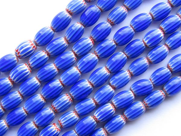 Glass CHEVRONS Beads layered glass 8mm Rosetta Star Blue White Red Barrel Strand making jewelry