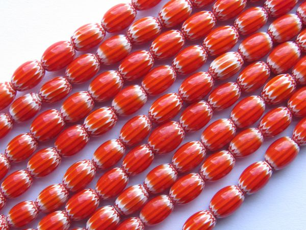 Glass Chevrons Rosetta Star BEADS 8x6mm 44 Strand Handmade Red White making jewelry