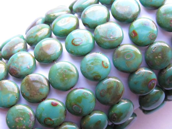 Czech Picasso Persian TURQUOISE 11mm Round Coin Beads 15 pc Pressed Glass