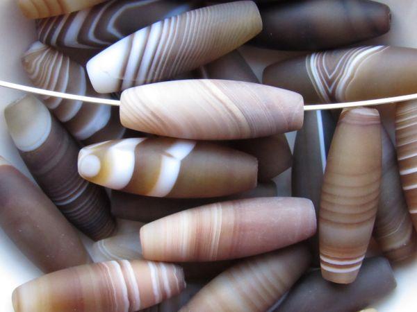 Sardonyx BEADS Tube Natural Banded Agate 30x10mm Large Gemstone Brown