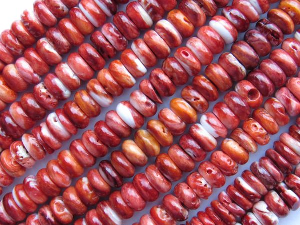 Red Spiney Oyster SHELL BEADS 8mm Rondelles Genuine from Sea of Cortez Rare bead supply making jewelry