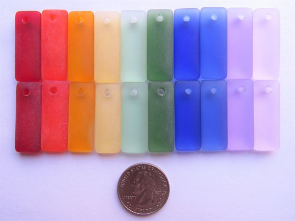 Rainbow Pairs SEA GLASS PENDANTS 20 pc Red Yellow Green Blue Purple variety making jewelry sea glass bead supply