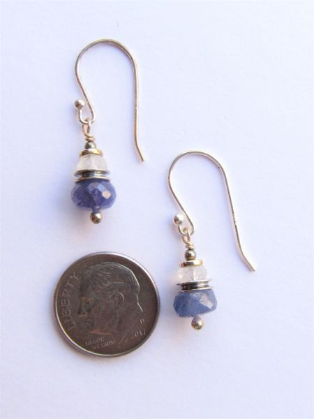 Sterling Tanzanite EARRINGS Moonstone Dangle Earwires Danty Elegant Unique dangle silver jewelry natural gemstone