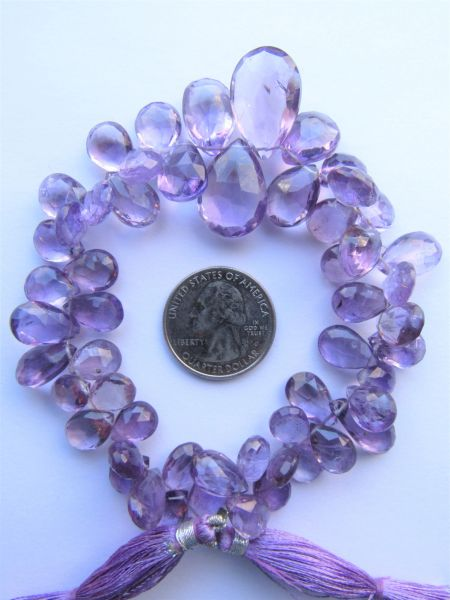 Graduating PENDANTS Light Amethyst Beads 20-10 x 14-8mm Faceted 229 ct making jewelry bead supply