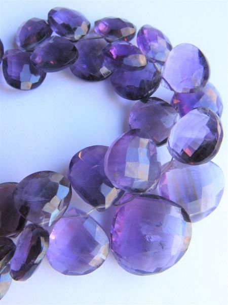 244 ct AMETHYST 18 - 10mm Faceted Heart Pendants Natural Purple Gemstone BEADS Unique making jewelry bead supply