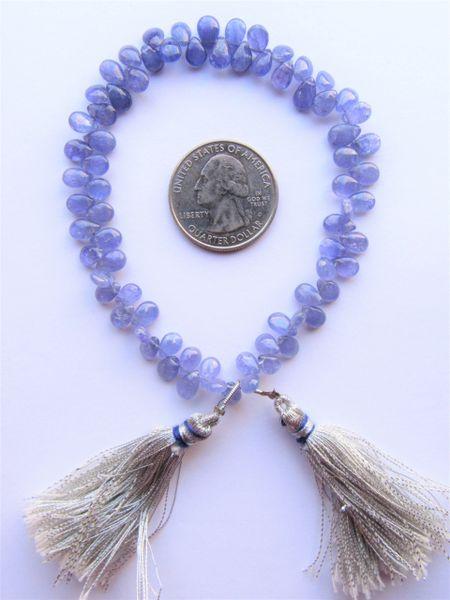 "TANZANITE Drops Pendants 6-7mm SmoothTeardrop 9"" Strand natural violet purple Gemstone making jewelry designer bead supply 0835"