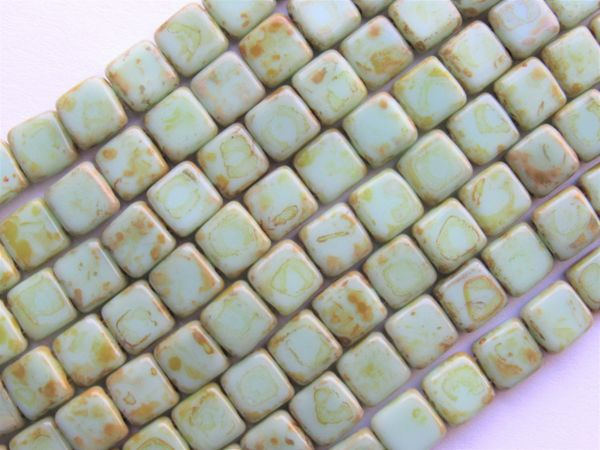 CzechMates 6mm Tile BEADS Picasso Opaque Pale Turquoise Glass 50 pc 2 Hole T63100