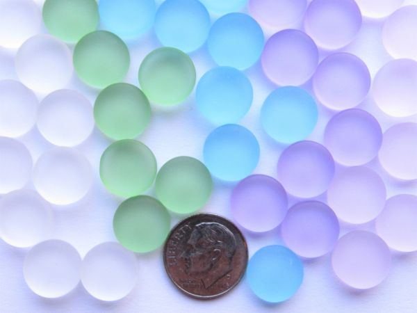 Sea Glass CABS Undrilled 12mm Round Clear Blue Green Purple Pink Cabachons NOT Drilled making jewelry quality bulk supply