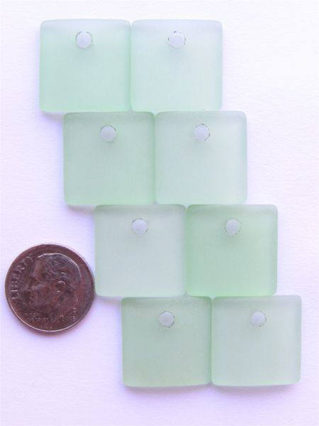 Cultured Sea Glass PENDANTS 19mm Square 8 pc Blue Green Top Drilled Making sea glass jewelry bead supply