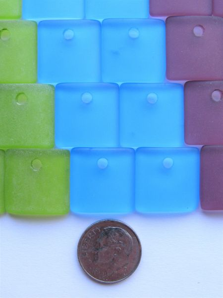 Sea Glass PENDANTS Square 24 pc 19x16mm Large 3mm Hole Pairs Blue Green Purple Bold Colors Making Sea Glass Jewelry bead supply