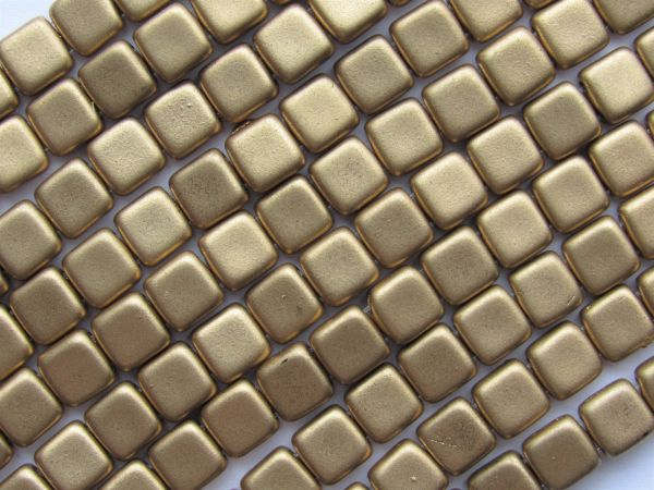 CzechMates Matte METALLIC FLAX 6mm Tile Beads 50 pc Spuare 2 Hole Pressed Glass beadwork making jewelry quality supply