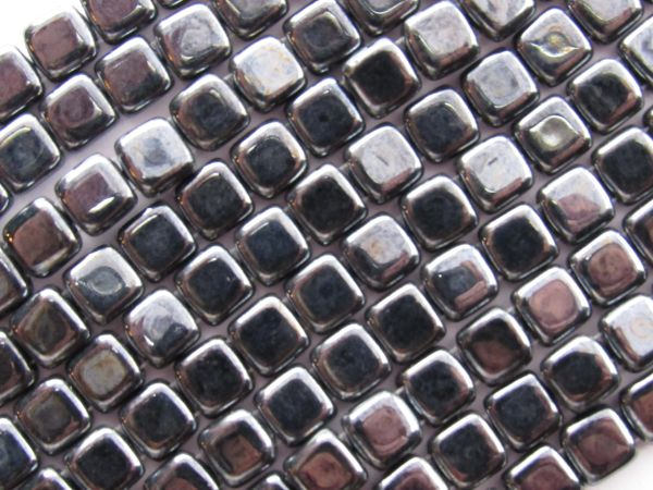 Glass Tile BEADS CzechMates HEMATITE 6mm Square 2 hole 50 pc genuine Pressed Glass making jewelry bead supply
