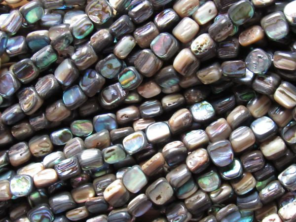 "Natural Abalone Shell BEADS 8x6mm Freeform 15.5"" Strand 48 pc Nugget Drilled"
