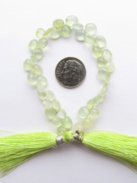 """Prasiolite BEADS Green Amethyst 7mm Faceted Heart Quality Grade Natural 6"""" Strand 44 pc making jewelry bead supply"""
