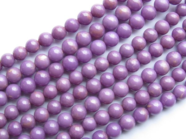 "PHOSPHOSIDENRITE 6mm Round BEADS Opaque Purple 15.5"" Strand pc Quality Grade Gemstone making jewelry unique bead"