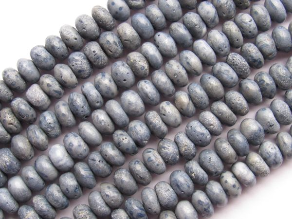 Bead Supplies - Blue Sponge CORAL BEADS 8mm rondelle beads