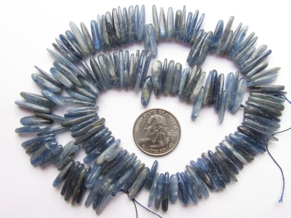 Blue KYANITE BEADS Pendants 17x8mm A Grade slices spears flat drilled Quality Natural Gemstone making jewelry quality bead supply