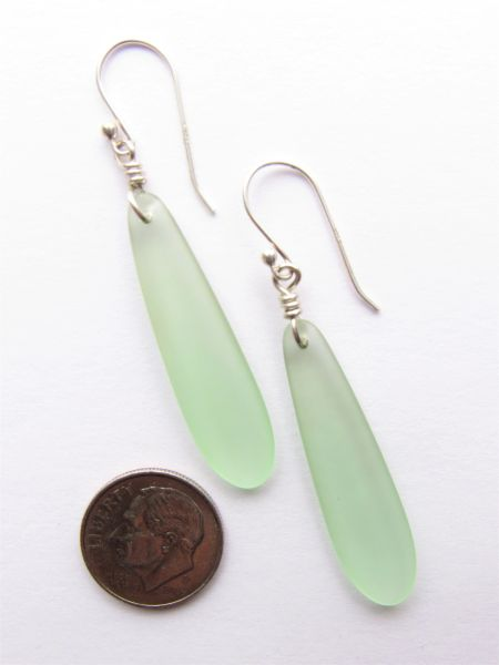 Light Green Sea Glass EARRINGS Sterling Silver DANGLE Earwires Beach Jewelry