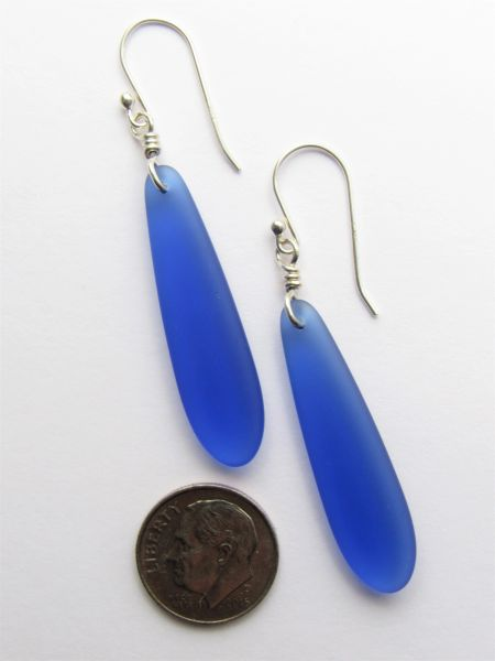 "Sea Glass EARRINGS Royal Blue Elongated Elegant Dangle Earwires Sterling Silver 2 1/4"" making earrings beach jewelry bead"