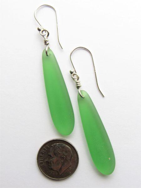 "Sea Glass EARRINGS Royal Blue Elongated Elegant Dangle Earwires Sterling Silver 2 1/4"" making earrings beach jewelry bead"