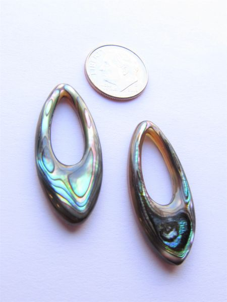 Abalone PENDANTS 35x15mm Ring Large Hole Pair Oval rings Iridescent multicolor Luster making beach jewelry designers bead supply