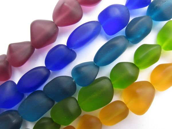 Cultured Sea Glass BEADS 15mm Free form Nugget Assorted Bold Colors for making jewelry